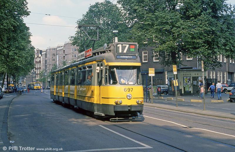 Car 697 at Nieuwezijds Voorburgwal on 8th August 1990.