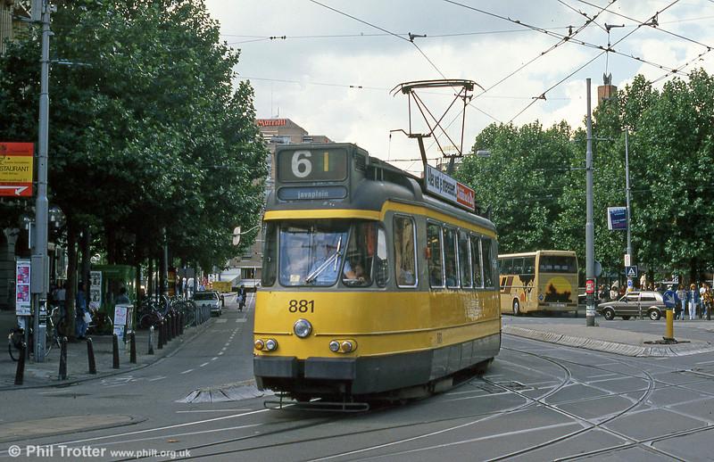 Car 881 at Leidesplein on 7th August 1990.