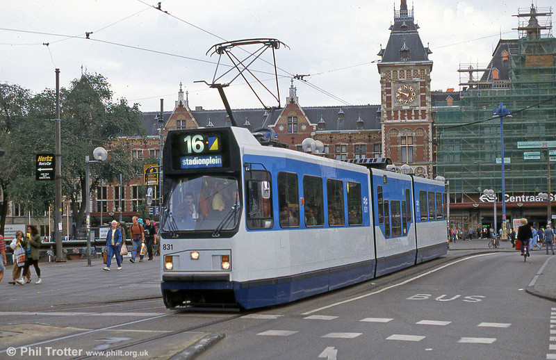 Car 831 at Centraal Station on 28th August 1991.