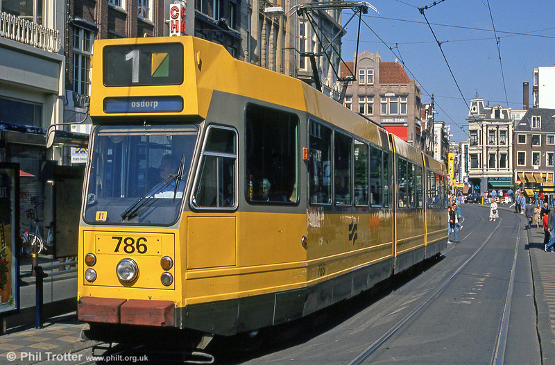 Car 786 at Leidestraat on 8th August 1990.