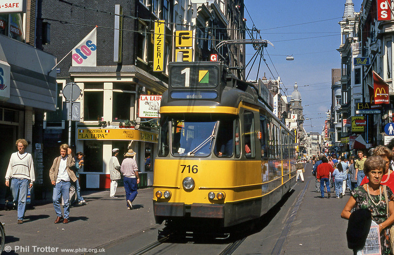 Car 716 at Leidestraat on 8th August 1990.