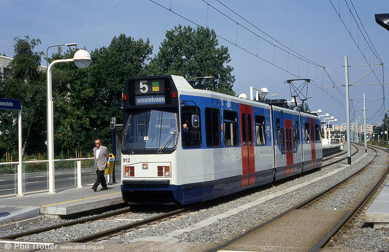 Amsterdam low-floor car 912 at Zonnestein on 27th August 1991.