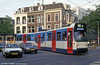 In 1989-1991, to replace the oldest articulated trams and to operate new lines, 45 articulated vehicles (numbers 817-841 and 901-920) were built by BN in Bruges, Belgium. They were Amsterdam's first low-floor trams. Car 819 is at Weteringscircuit on 27th August 1991.