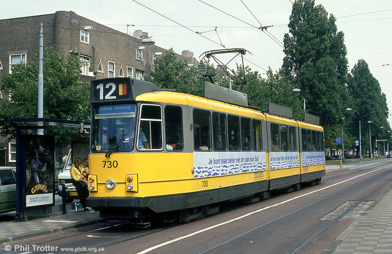 Amsterdam car 730 at Victorie Plein, 8th August 1990). Cars 725 to 779 were built by LHB in 1974-1975.