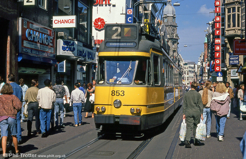 Car 853 at Leidestraat on 8th August 1990.