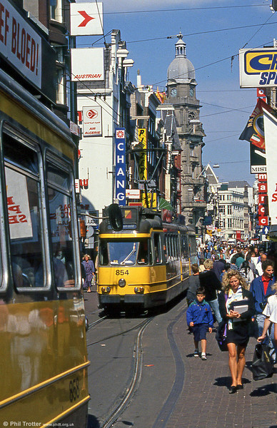 Car 854 at Leidestraat on 8th August 1990.
