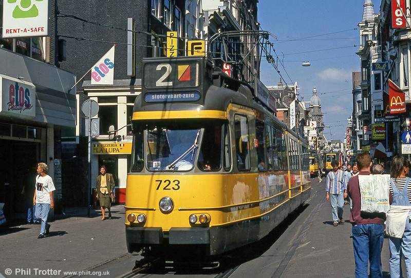 Car 723 at Leidestraat on 8th August 1990.