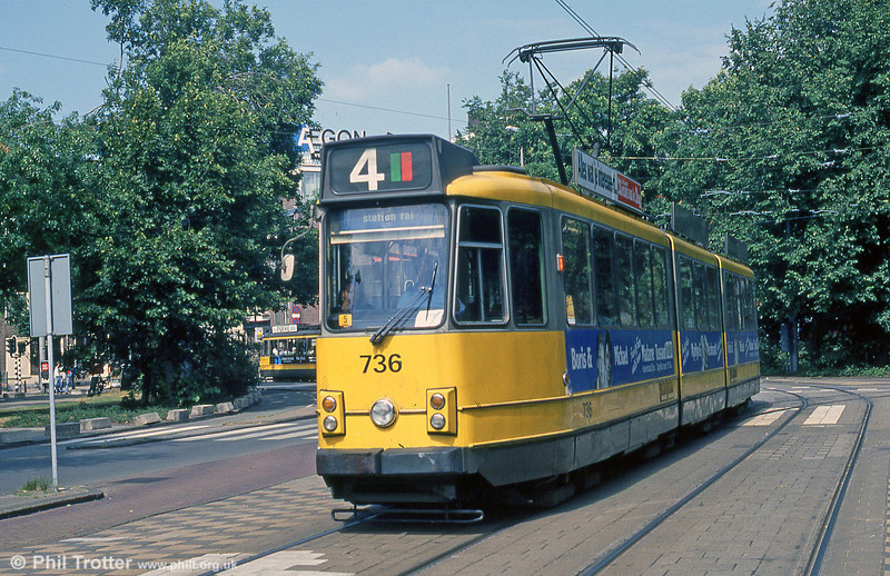 Car 736 at Frederiksplein on 8th August 1990.