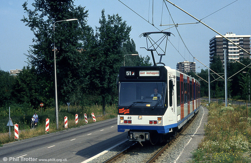 'Sneltram' car 49 on test at Oranjebaan on 27th August 1991. Cars 45-57 were built by BN in 1990.