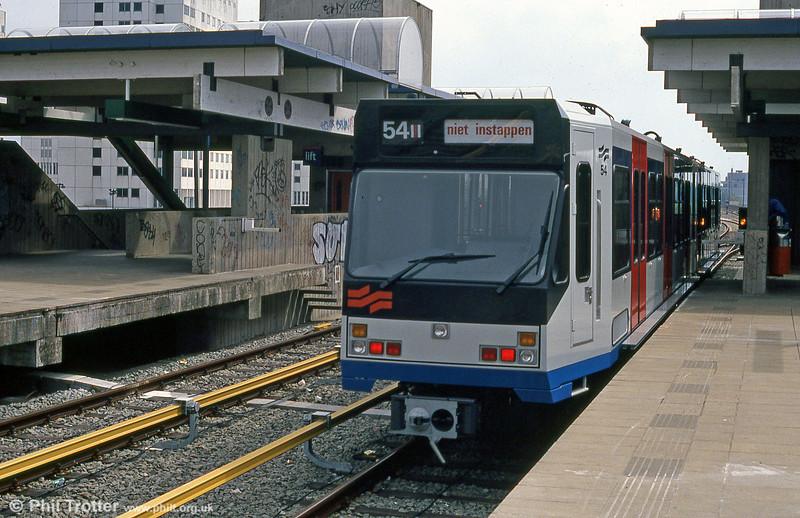 'Sneltram' car 54 at Spaklerweg on 8th August 1990.