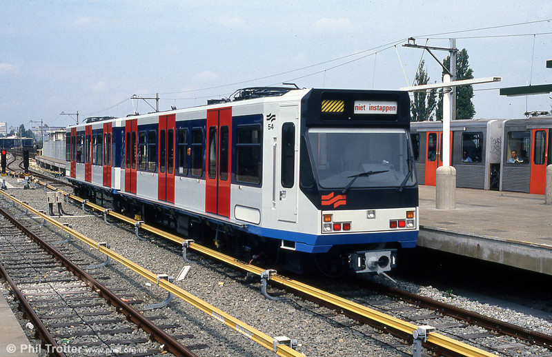 Amsterdam 'Sneltram' car 54 on test at Spaklerweg, 8th August 1990. (First published in Light Rail Review no.2, 1991).