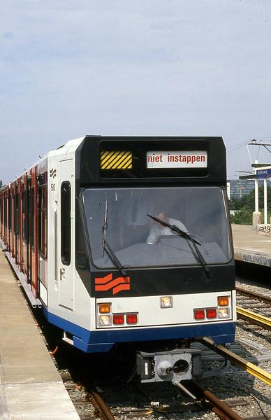 Amsterdam 'Sneltram' car 50 on test at Spaklerweg on 8th August 1990. (First published in Modern Tramway, 1/91).