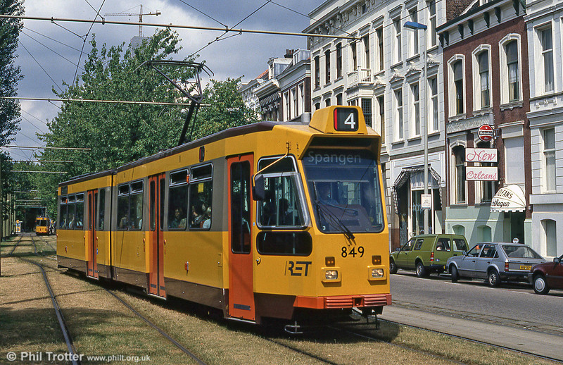 Rotterdam car 849 in the sunshine at Mauritsweg on 5th August 1990.