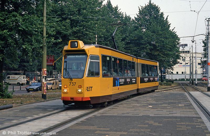 Car 737 at Kruisplein on 10th August 1990.