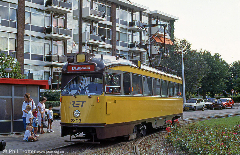 A former Den Haag PCC car 1139 seeing out its retirement in Rotterdam as a Railslijpwagen (water car) numbered 2303 on 28th August 1991.