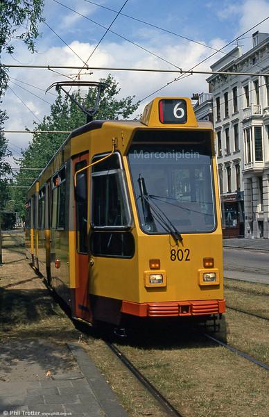Car 802 at Mauritsweg on 5th August 1990.