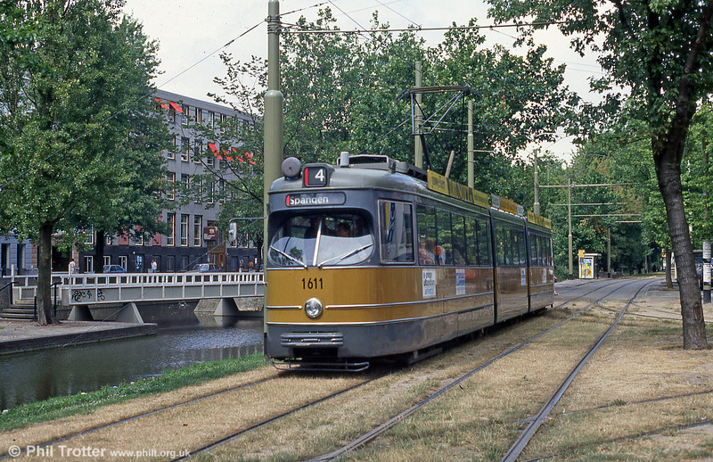 Rotterdam early articulated car 1611 at Mauritsweg on 5th August 1990.