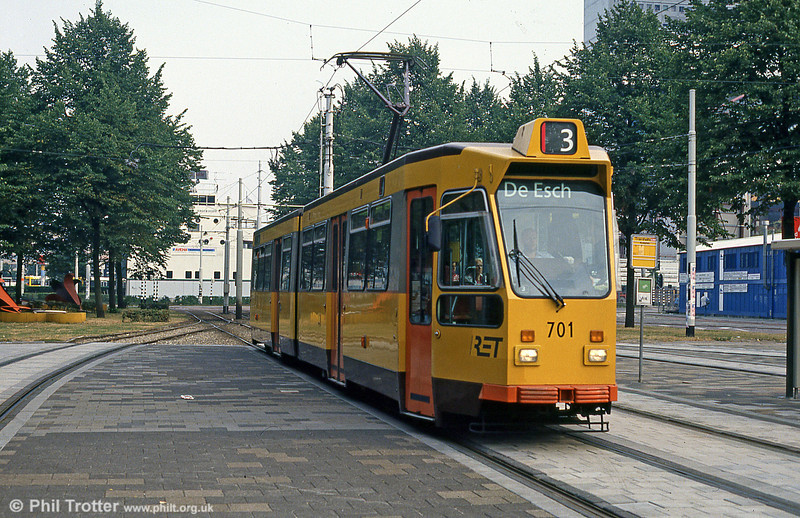 Car 701 at Kruisplein on 10th August 1990.