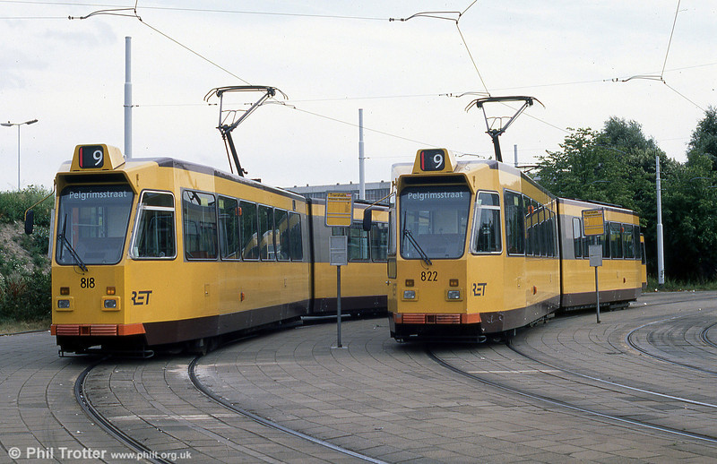 Cars 818 and  822 at Burgemeester Oudlaan on 5th August 1990.