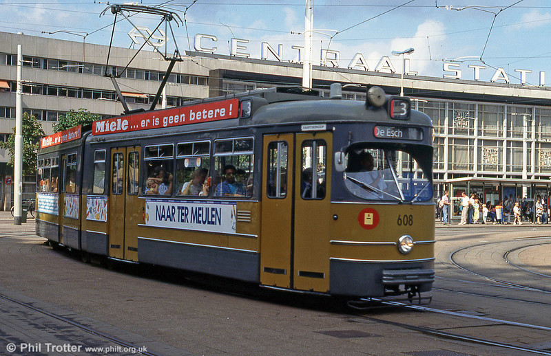 Car 608 at Centraal Station on 28th August 1991.
