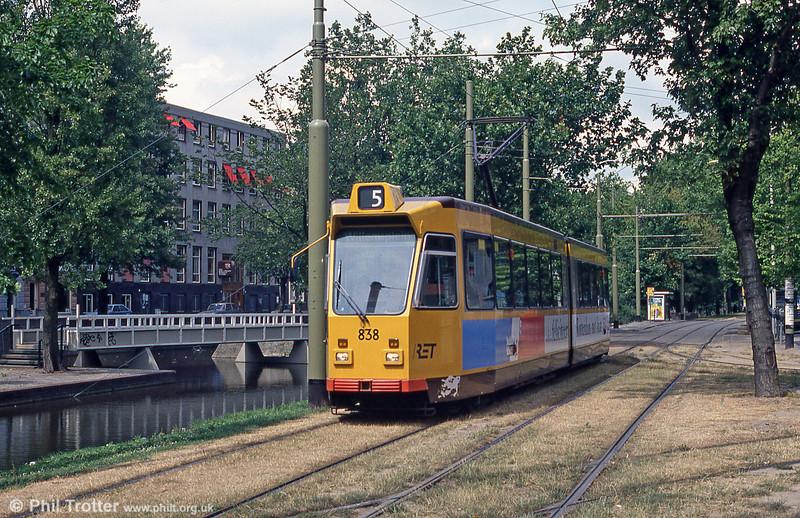 Car 838 at Mauritsweg on 5th August 1990.