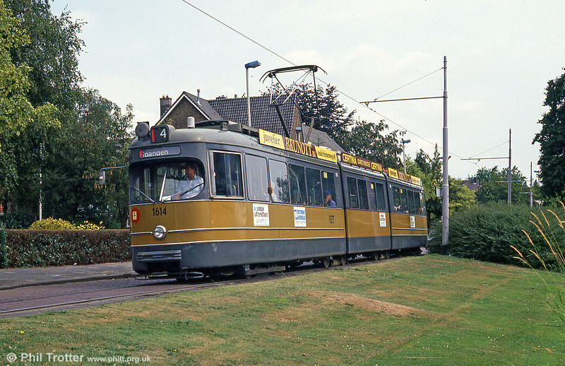 Rotterdam double articulated car 1614 at Molenlaan on 5th August 1990.