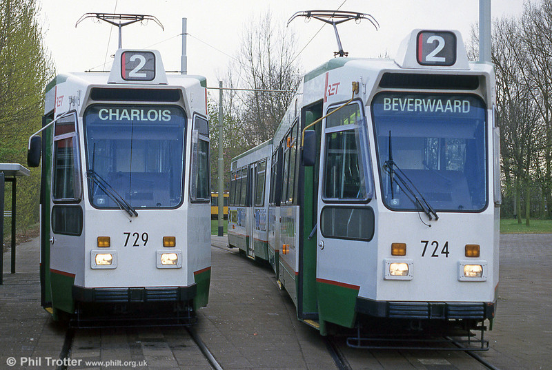 Cars 729 and 724in the new livery at Charlois on 14th April 1994.