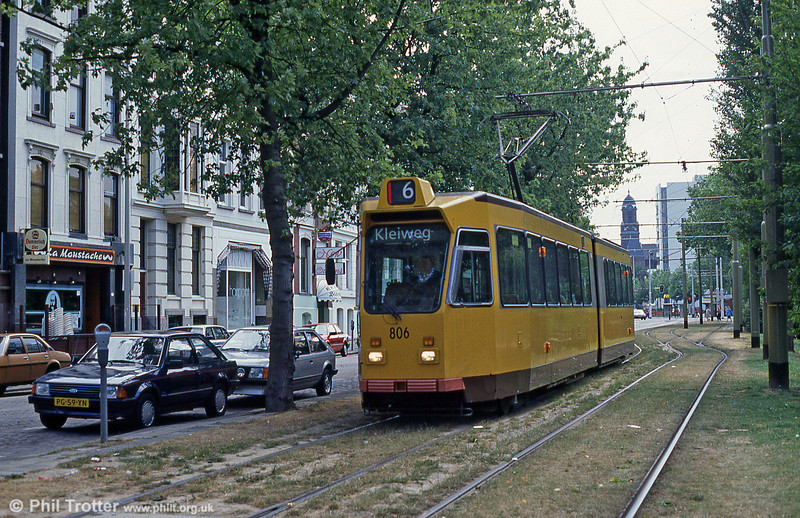 Car 806 at Mauritsweg on 5th August 1990.