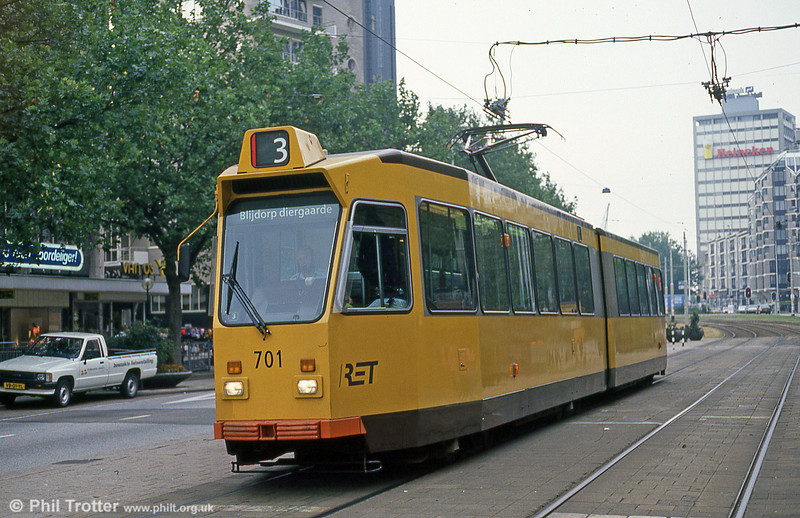 Car 701 at Coolsingel on 8th August 1990. Cars 701-750 were acquired from Düwag in 1981-85. However the design was by RET. The centre bogies are not below the articulation but at the rear of the front section.