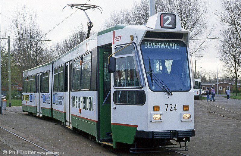 Rotterdam car 724 in the new livery at Charlois on 14th April 1994. (First published in Light Rail & Modern Tramway, 9/94).