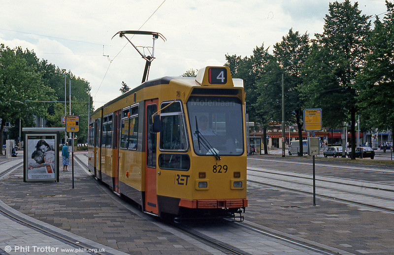 Car 829 at Kruisplein on 5th August 1990.