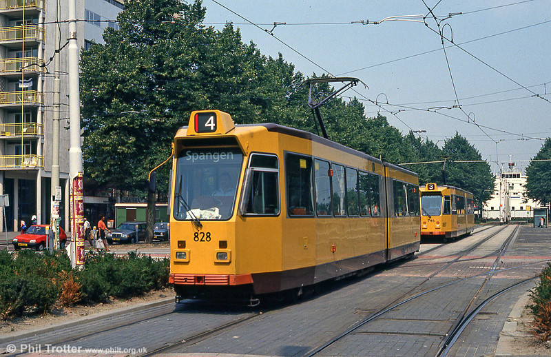 Rotterdam 828 heads another at Kruisplein on 4th August 1990.