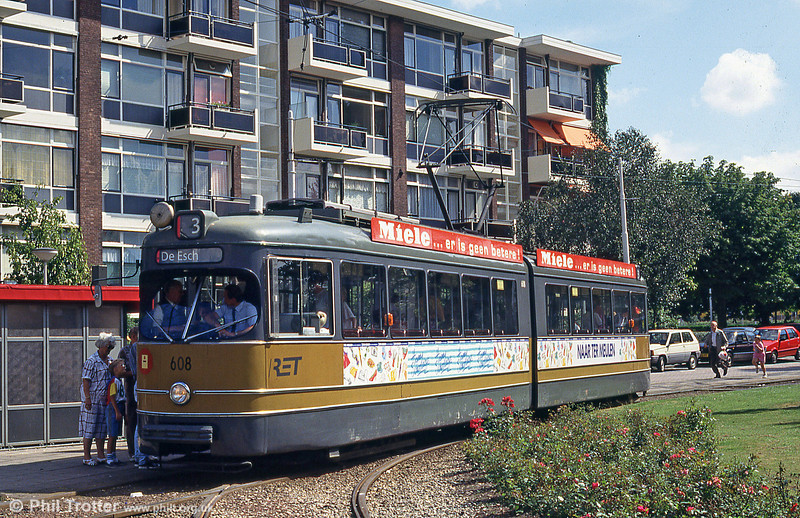 Rotterdam car 608 at Diergaarde on 28th August 1991.