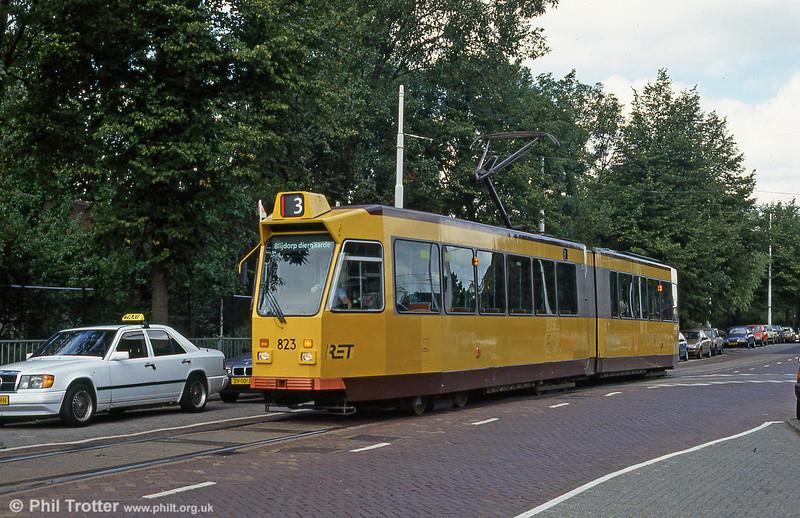 Car 823 at Van Aerssenlaan on 28th August 1991.