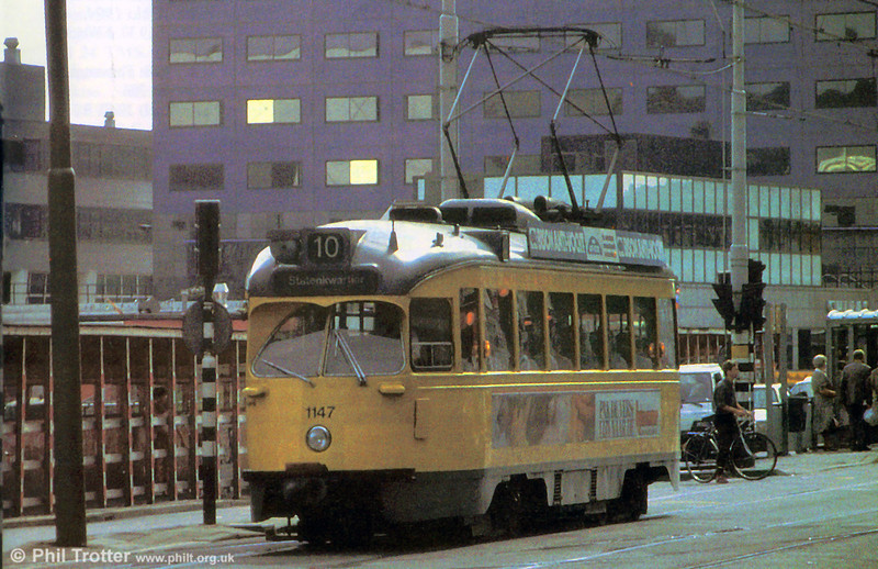 Car 1147 at Spui on 28th August 1991. This car is now at the National Tramway Museum, UK and the original of this shot has been donated to their archive.