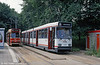 Den Haag's intermediate livery was this grey scheme, as carried by car 3039, with 3018 alongside in the previous scheme, at Vrederust on 6th August 1990. (First published in Modern Tramway, 2/91).