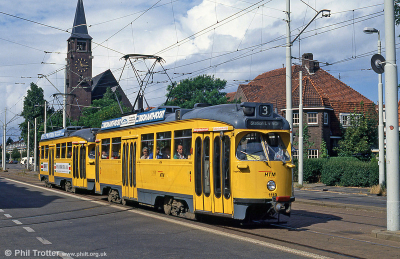 Den Haag had a large fleet of American-style PCC cars, now sadly withdrawn - although several have been preserved. A coupled pair headed by 1118 are seen in action on 6th August 1990.