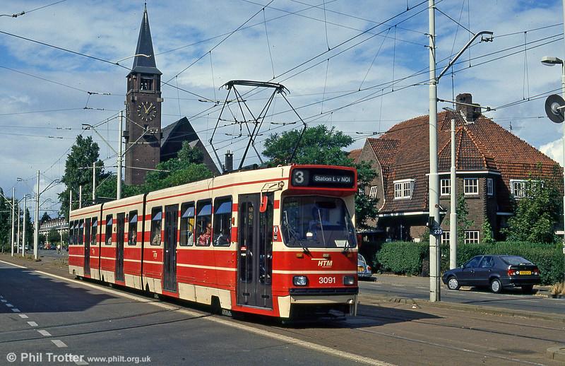 Car 3091 at Laan van Meerdervoort on 6th August 1990.