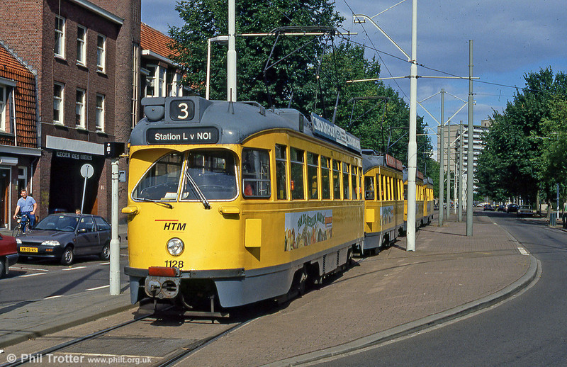 Den Haag PCC car 1128 at Loosduinen on 6th August 1990.