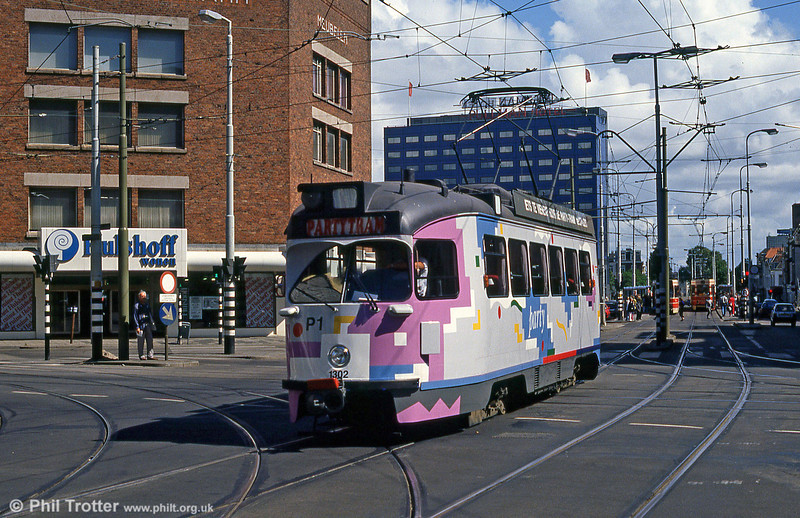 Den Haag 1302 in use as a 'Partytram' at Kalvermarkt on 6th August 1990.