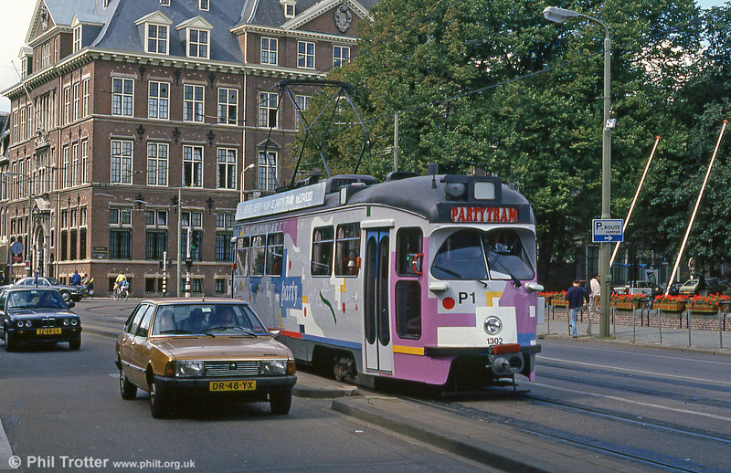 Car 1302 at Buitenhof on 6th August 1990. The tram can be rented for parties and has a bar.