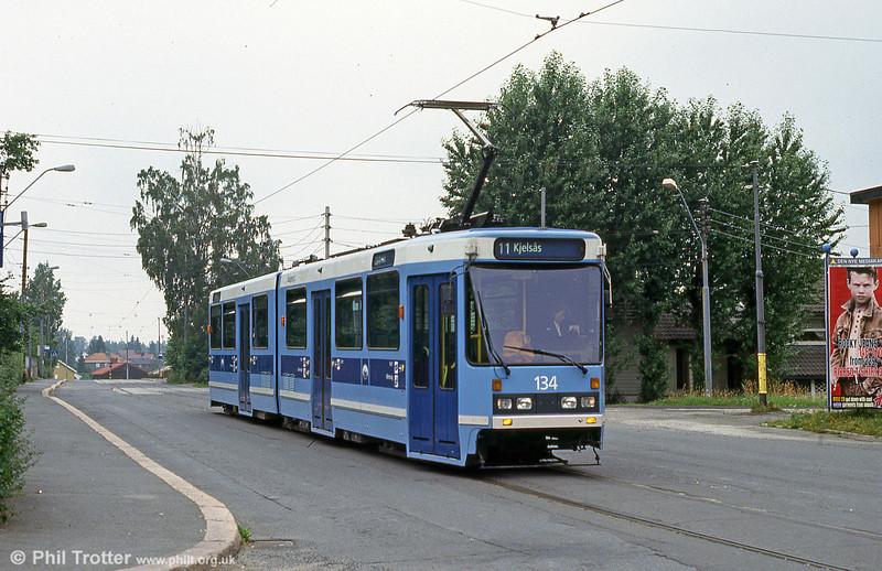 Car 134 at Kjelsås on 5th August 1991.