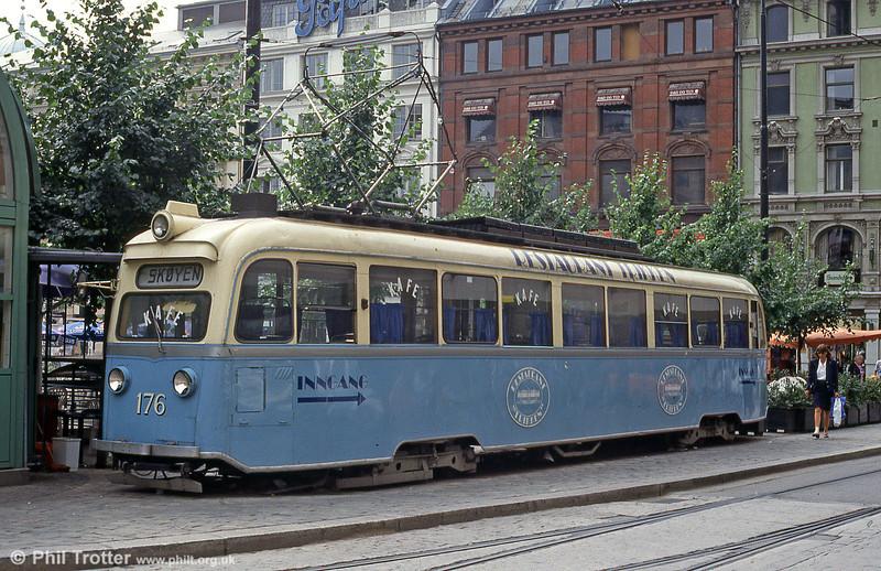 Car 176 at Stortorvet on 5th August 1991.