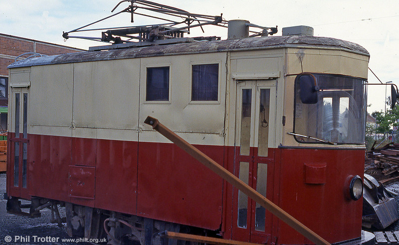The former track cleaning tram at Munkvoll depot on 7th August 1991.
