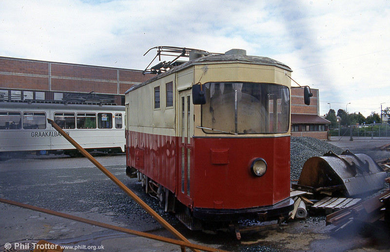 The former track cleaning tram used for cleaning the street rails. After the temporary closure of the tram system in 1988, it was stored at Munkvoll depot. 7th August 1991.