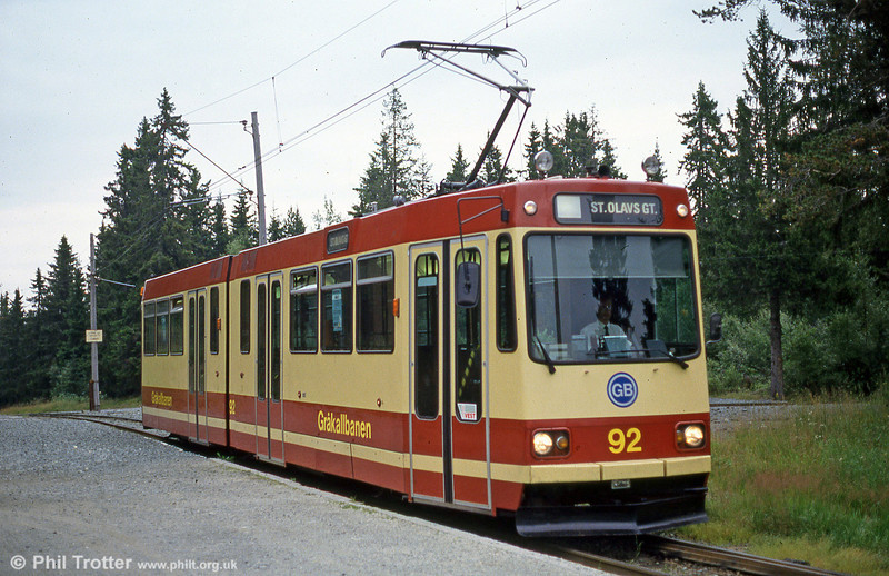 Trondheim car 92 at Lian terminus, 6th August 1991.