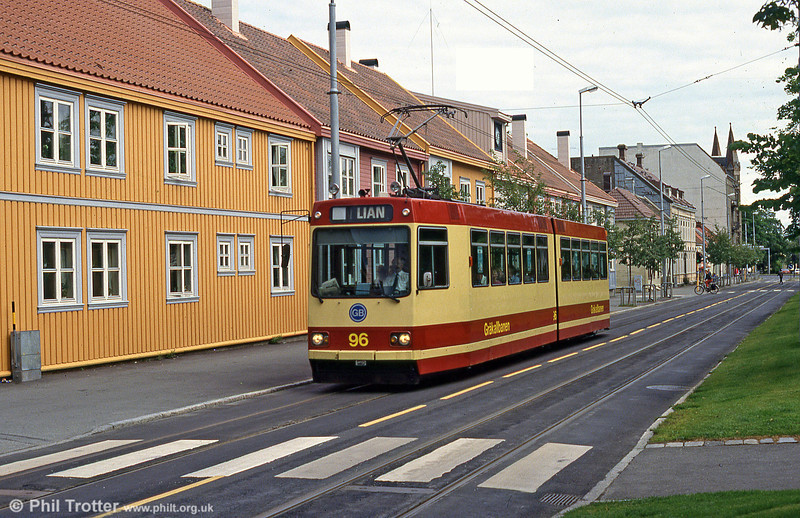Trondheim Gråkallbanen car 96 at Lian, 7th August 1991. Note the wooden buildings - in an area where timber is plentiful.