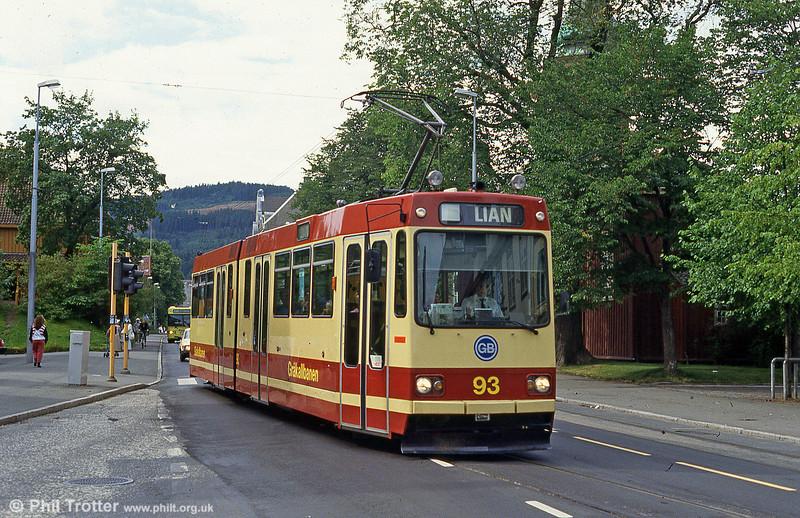 Car 93 at Hospitalets Kirke on 7th August 1991.