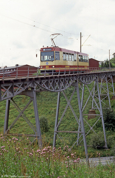 Trondheim car 90 crossing the bridge at Hoem on 7th August 1991.