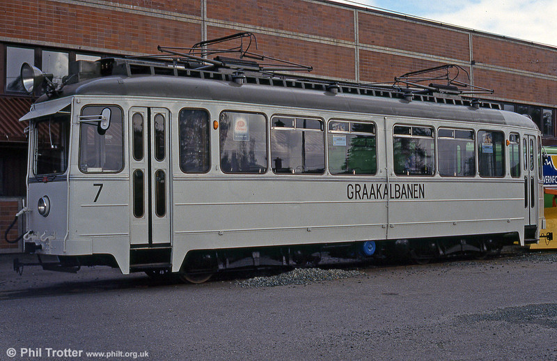 Graakalbanens AS car 7 from 1955 at Munkvoll depot on 7th August 1991. The tram is nowadays preserved in the museum which has been established at the same location.
